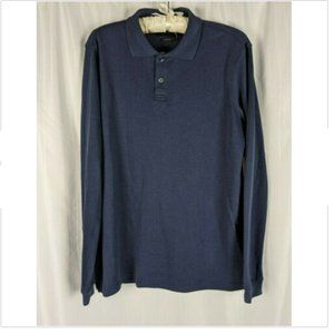 Axist Blue Long Sleeve Ribbed Knit Collared Polo